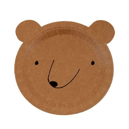 Let's Explore Bear Shaped Paper Party Plates - pack of 12